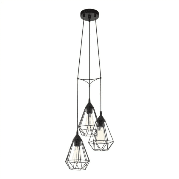Tarbes 3 Light Black Cage Cluster Pendant -
