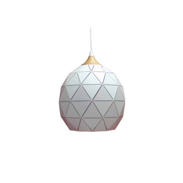 Geometric Metal & Timber Pendant Light -