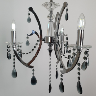 3 Light  Chrome and Smoke Chandelier