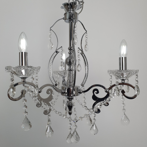 3 Light Ornate Crystal Beaded Inlay Chandelier -