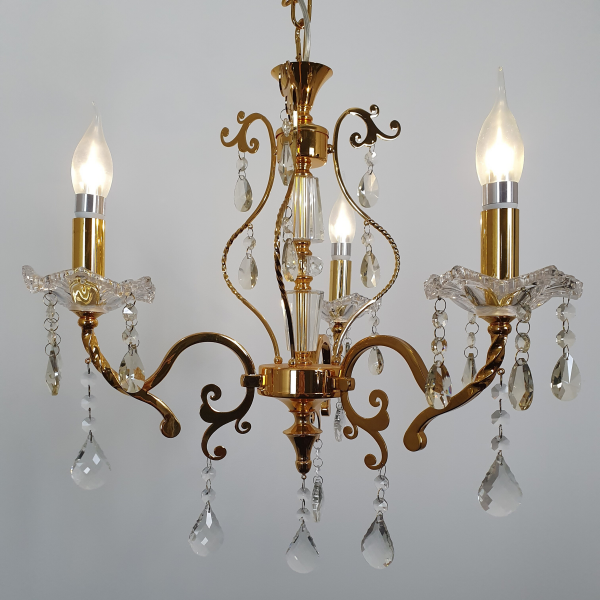 Ornate Arm Crystal Bead Gold Chandelier -