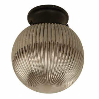 D.I.Y. Batten Fitting Spherical Ribbed Black Finish/Smoke Glass