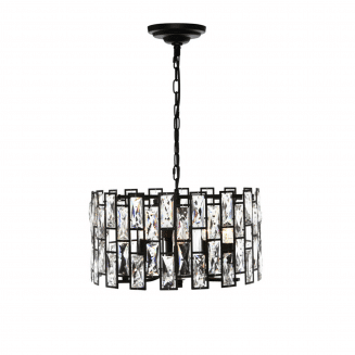 Porsha Black and Crystal 5 Light Pendant