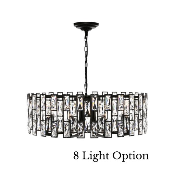 Porsha Black and Crystal 5 Light Pendant -