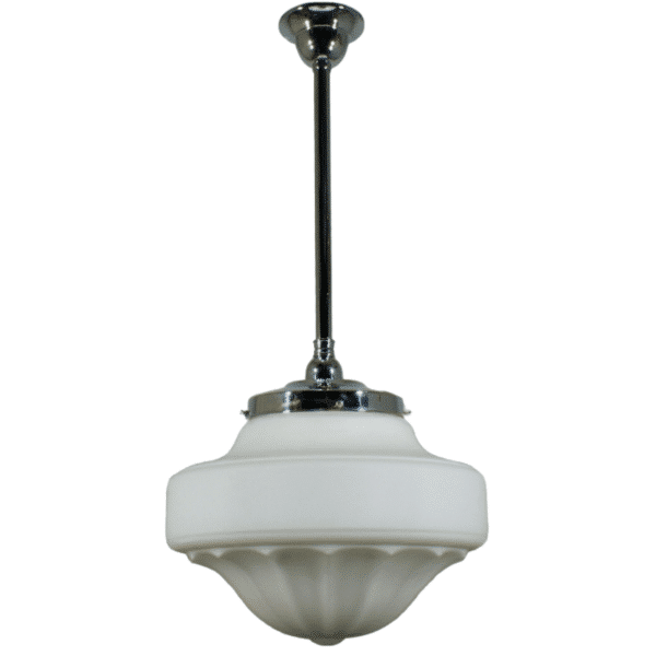 Derby Opal Matt Period Pendant Light w/ Chrome Rod and Gallery -