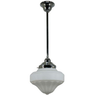 Derby Opal Matt Period Pendant Light w/ Chrome Rod and Gallery