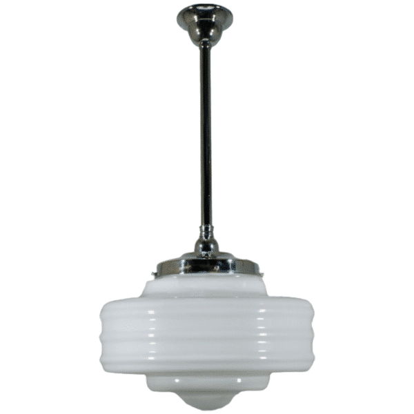 Detroit Opal Gloss Period Pendant Light w/ Chrome Rod and Gallery -