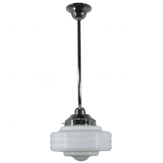 Detroit Opal Gloss Period Pendant Light w/ Chrome Rod and Gallery
