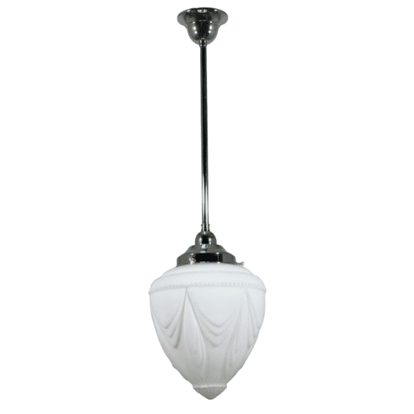 Empire Opal Matt Period Pendant Light w/ Chrome Rod and Gallery -