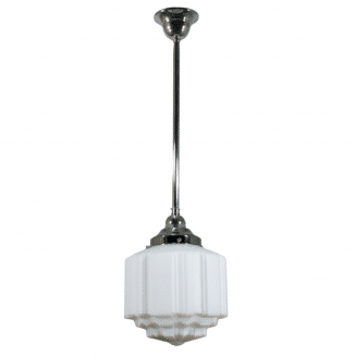St Kilda Opal Matt Period Pendant Light w/ Chrome Rod and Gallery