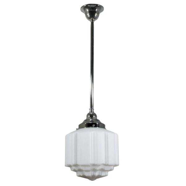 St Kilda Opal Matt Period Pendant Light w/ Chrome Rod and Gallery -
