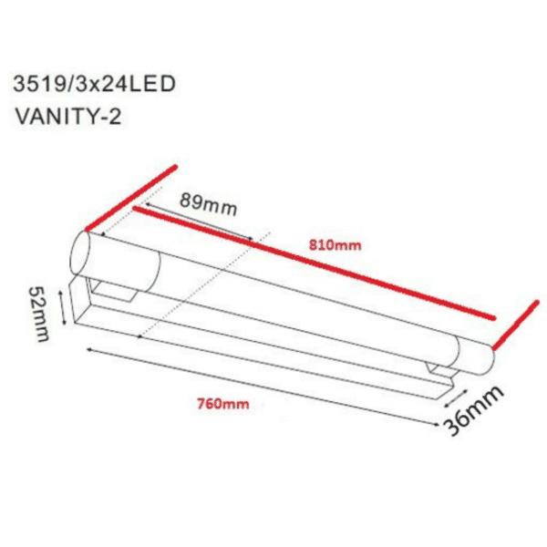 Vanity LED Chrome Wall Light - Vanity LED Chrome Wall Light