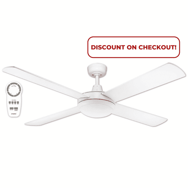 """Martec Lifestyle """"DC"""" White Ceiling Fan with 24W LED Tri-Colour Light and Remote -"""
