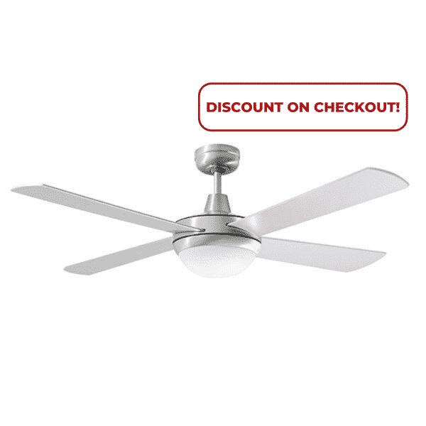 "Martec Lifestyle ""AC"" Brushed Aluminium Ceiling Fan with 24W LED Tri-Colour Light -"