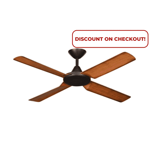 Hunter Pacific New Image Matt Black with Koa Finish Blades DC Ceiling Fan with Remote and Wall Control -