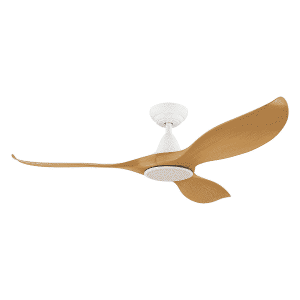 Eglo Noosa 52 DC Ceiling Fan Matt White and Bamboo with 18W Tri Colour LED Light