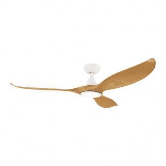 Eglo Noosa 60 DC Ceiling Fan Matt White with Bamboo Blades and 18W Tri Colour LED Light